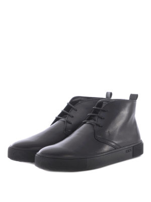 Tod'S: ankle boots online - Black leather laced-up desert boots
