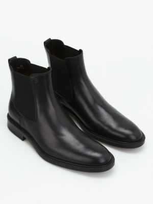 Tod'S: ankle boots online - Black leather slip-on booties