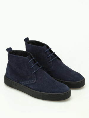 Tod'S: ankle boots online - Blue suede desert boots