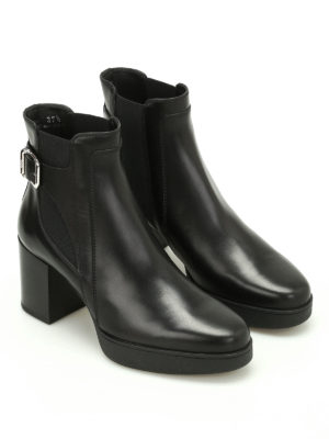 Tod'S: ankle boots online - Brushed leather buckle booties