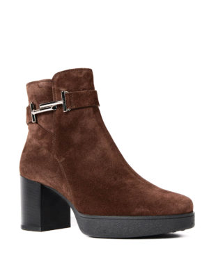 Tod'S: ankle boots online - Double T suede ankle boots