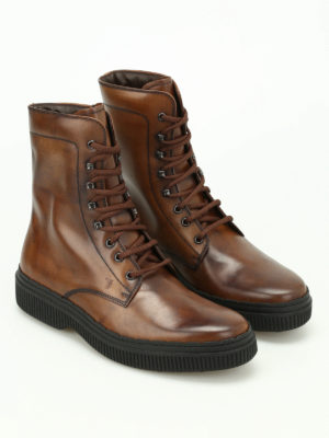 Tod'S: ankle boots online - Faded brushed leather combat boots