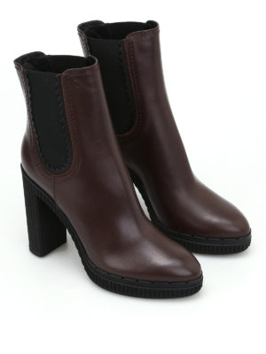 Tod'S: ankle boots online - High heeled brown leather booties