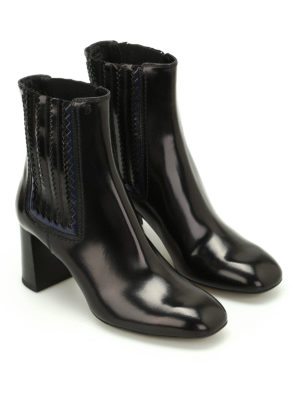 Tod'S: ankle boots online - Leather zigzag detail booties