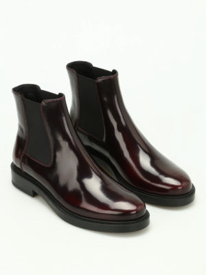 Tod'S: ankle boots online - Polished leather Chelsea boots