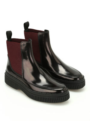Tod'S: ankle boots online - Polished leather two-tone booties