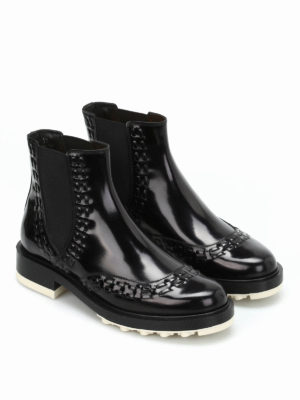 Tod'S: ankle boots online - Semi-glossy leather booties