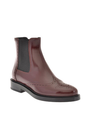 Tod'S: ankle boots online - Smooth leather brogue booties