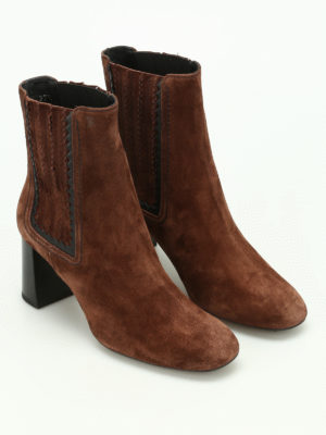 Tod'S: ankle boots online - Suede zigzag detail booties