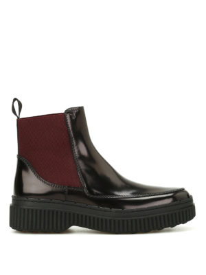 Tod'S: ankle boots - Polished leather two-tone booties