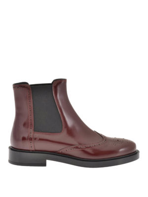 Tod'S: ankle boots - Smooth leather brogue booties