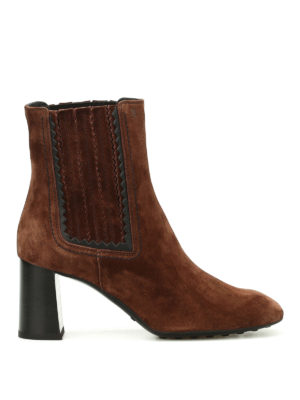 Tod'S: ankle boots - Suede zigzag detail booties