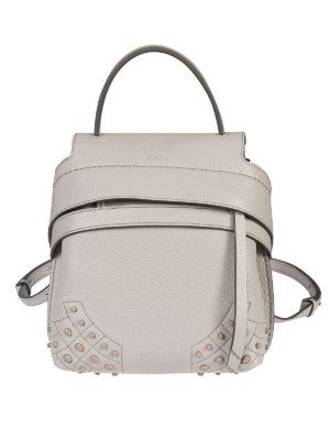 TOD'S: zaini - Zainetto Wave Bag Mini in pelle grigio chiaro