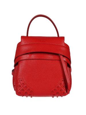 TOD'S: zaini - Zainetto Wave Bag Mini in pelle ribes