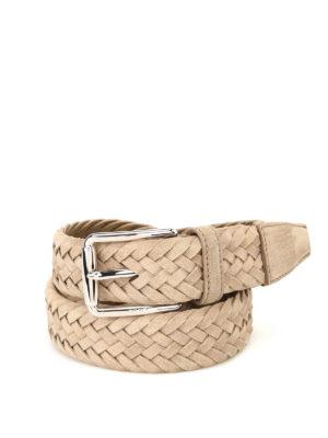 Tod'S: belts - Beige woven suede belt