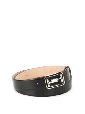 Tod'S: belts - Black brushed leather belt