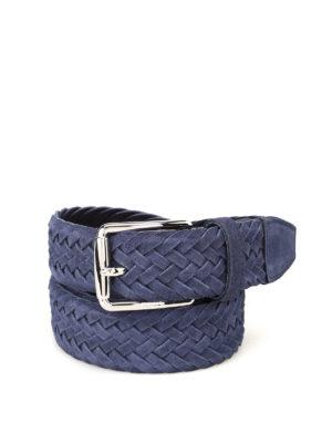 Tod'S: belts - Blue woven suede belt