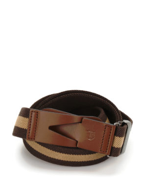 Tod'S: belts - Canvas and leather Greca belt