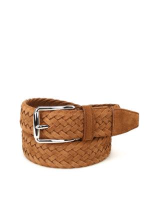 Tod'S: belts - Chestnut woven suede belt