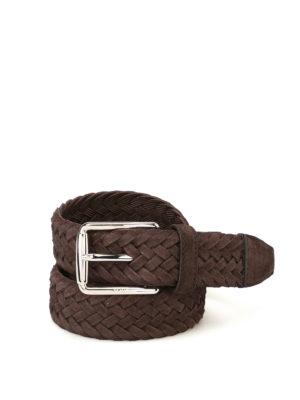 Tod'S: belts - Dark brown woven suede belt