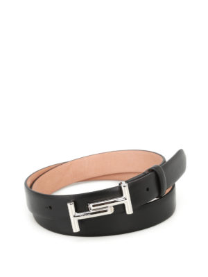 Tod'S: belts - Double T black leather belt