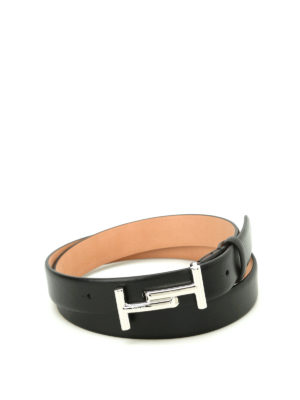 Tod'S: belts - Double T buckle black leather belt