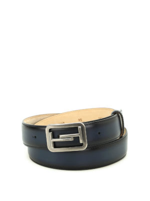 Tod'S: belts - Double T buckle blue leather belt