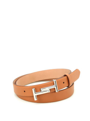 Tod'S: belts - Double T buckle tan leather belt