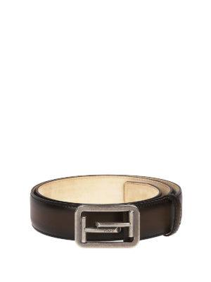 TOD'S: cinture - Cintura Double T in pelle délavé