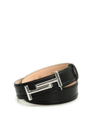 Tod'S: belts - Double T leather belt