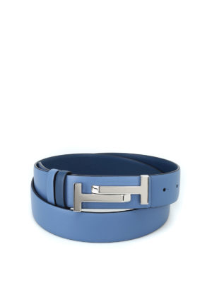 TOD'S: cinture - Cintura in pelle blu con fibbia Double T