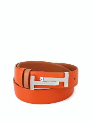 TOD'S: cinture - Cintura in pelle arancio con fibbia Double T
