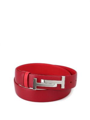 TOD'S: cinture - Cintura in pelle rossa con fibbia Double T