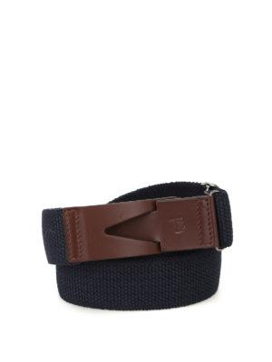 Tod'S: belts - Greca blue canvas belt