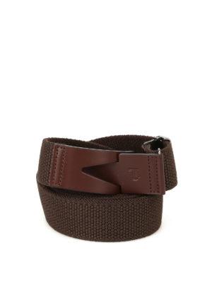 Tod'S: belts - Greca brown canvas belt