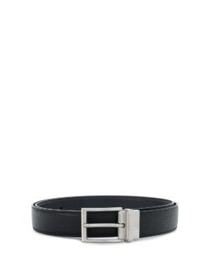 TOD'S: cinture - Cintura con logo in pelle nera