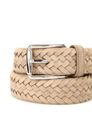 Tod'S: belts online - Beige woven suede belt