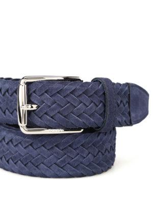 Tod'S: belts online - Blue woven suede belt