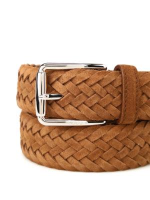 Tod'S: belts online - Chestnut woven suede belt