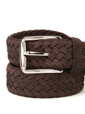 Tod'S: belts online - Dark brown woven suede belt