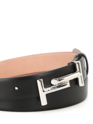 Tod'S: belts online - Double T black leather belt