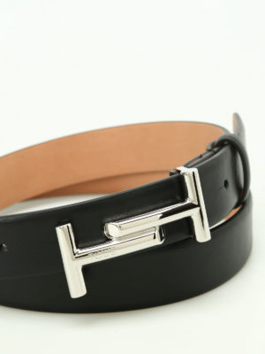 Tod'S: belts online - Double T buckle black leather belt