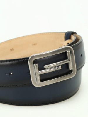 Tod'S: belts online - Double T buckle blue leather belt