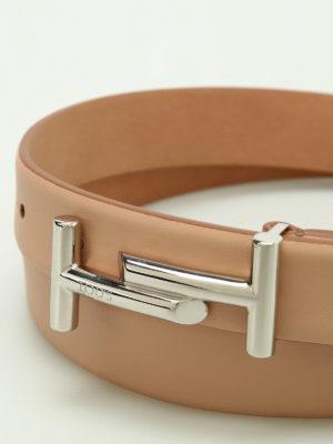 Tod'S: belts online - Double T buckle leather belt