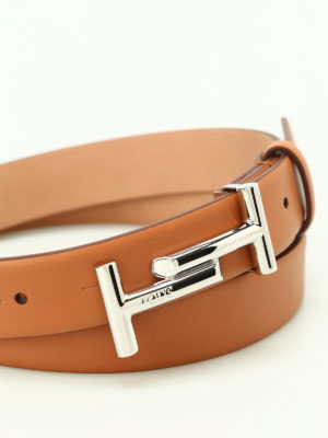 Tod'S: belts online - Double T buckle tan leather belt