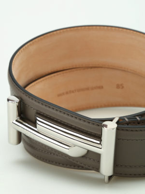 Tod'S: belts online - Double T leather belt