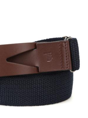 Tod'S: belts online - Greca blue canvas belt