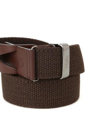 Tod'S: belts online - Greca brown canvas belt