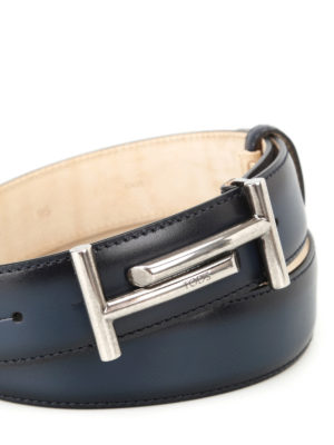 Tod'S: belts online - Shaded blue leather belt