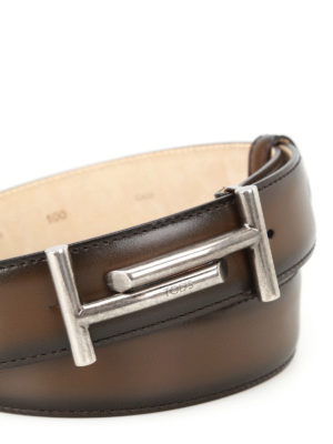 Tod'S: belts online - Shaded dark brown leather belt